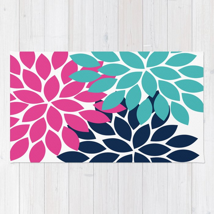 Bold Colorful Hot Pink Turquoise Navy Dahlia Flower Burst Petals Rug