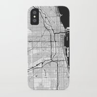 chicago map iPhone & iPod Cases featuring Chicago Map Gray by City Art Posters