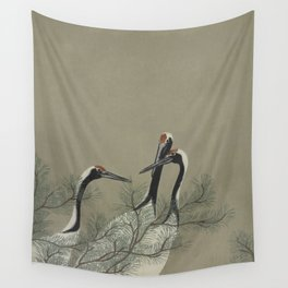 Japanese Red Crowned Crane Wall Tapestry