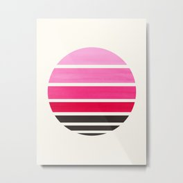 Magenta Mid Century Modern Minimalist Circle Round Photo Staggered Sunset Geometric Stripe Design Metal Print