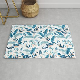 Tropical birds and leaves pattern Rug