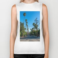 los angeles Biker Tanks featuring Los Angeles by Luke Callow