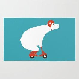 Polar bear on scooter Rug