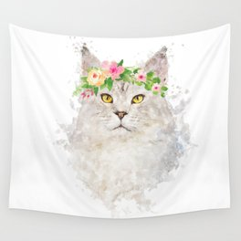 Boho cat portrait with flower crown Wall Tapestry