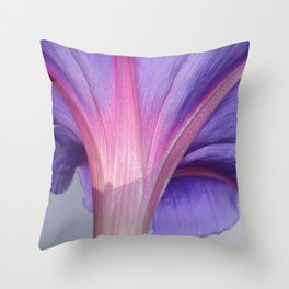 Macro of a Pale Liliac and Pink Morning Glory Throw Pillow