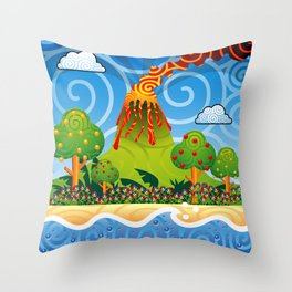 Tropical Volcano Eruption Throw Pillow