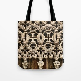 Gothic tracery at Batalha, Portugal, with the Knights Templar cross Tote Bag