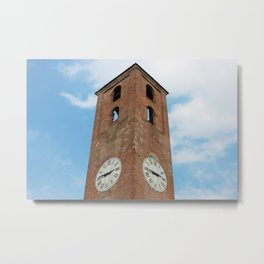 Antique Clock Tower On Blue Sky Background Metal Print
