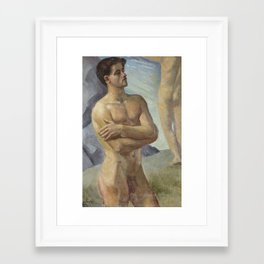 Bathing Men by Georg Pauli Framed Art Print