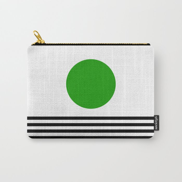 Mid-century Modern Lime Green Minimalist Sunset Over Striped Waves Carry-All Pouch
