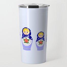 Blue russian matryoshka nesting dolls Travel Mug