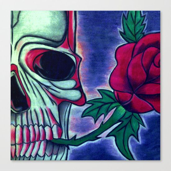 Skull & Red Rose Canvas Print
