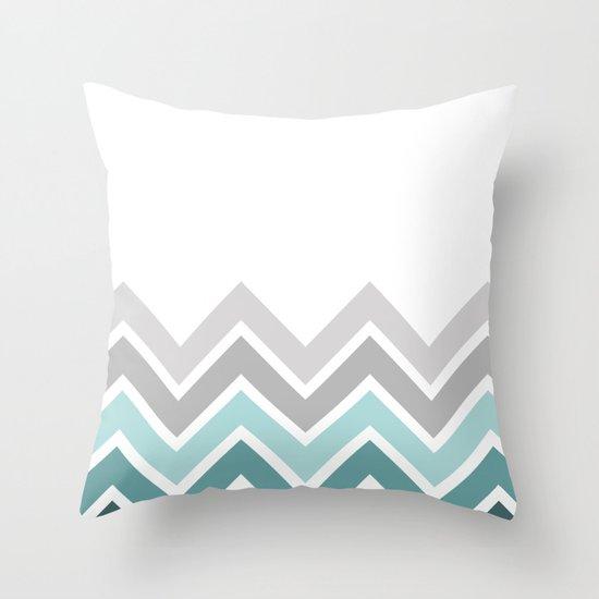 WHITE/ TEAL CHEVRON FADE Throw Pillow