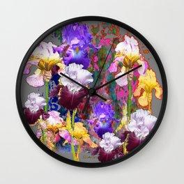 Decorative Spring Grey Iris Yellow & Pink Garden Wall Clock