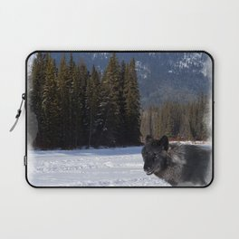 """Banff Wolf in Winter with Mt Cascade"" Laptop Sleeve"
