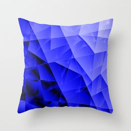 Repetitive overlapping sheets of dark blue paper triangles. Throw Pillow