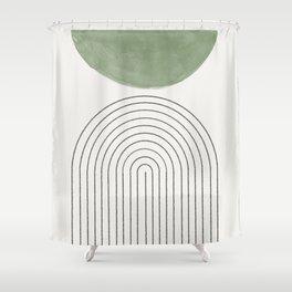 Green Moon Arch Shower Curtain