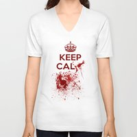 keep calm V-neck T-shirts featuring Keep calm? by Eveline