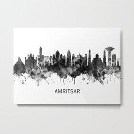 Amritsar Punjab Skyline BW Metal Print