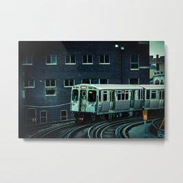 Approaching Sheridan Chicago Train Red Line El Train L Train CTA Commuter Metal Print