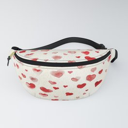 LOVE you! Watercolor Hearts. Valentine's Day Card Fanny Pack