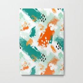 Grunge Brush Strokes in Orange + Teal Metal Print