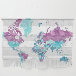 """Purple and turquoise watercolor world map with cities, """"Blair"""" Wall Hanging"""