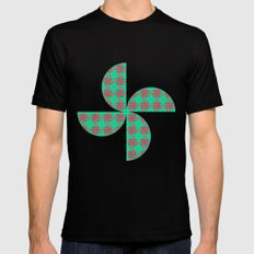 Pinwheels Pattern Mens Fitted Tee Black MEDIUM