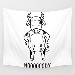 Mooody T Shirt Moody Funny Cow Pun Calf Farmers Gift Wall Tapestry