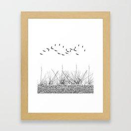 black and white winter landscape Framed Art Print