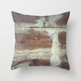 Repaired wooden shipboard Throw Pillow