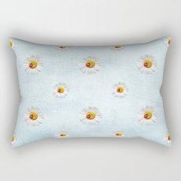 Daisies in love- blue pattern Rectangular Pillow