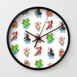 Kaiju Food Monsters Pattern #2 Wall Clock