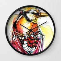 jay fleck Wall Clocks featuring Crazy Jay by Abby Diamond