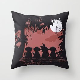 3 Monkeys and 1 Legend Throw Pillow