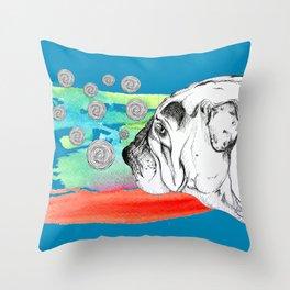 mind reading dog Throw Pillow