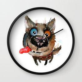 Watercolor funny smiling dog Wall Clock