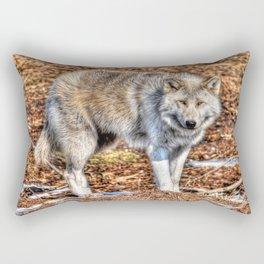 Arctic Wolf and Pine Tundra Rectangular Pillow