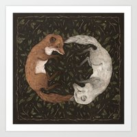 foxes Art Prints featuring Foxes by Jessica Roux