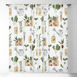 Botanical Gardening Pattern Pots And Plants Blackout Curtain