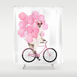 Riding Llama with Pink Balloons #1 Shower Curtain