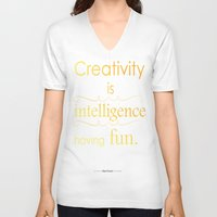 creativity V-neck T-shirts featuring Creativity by Cecilie