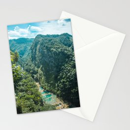 Aerial view of the natural turquoise pools of Semuc Champey, Guatemala Stationery Cards