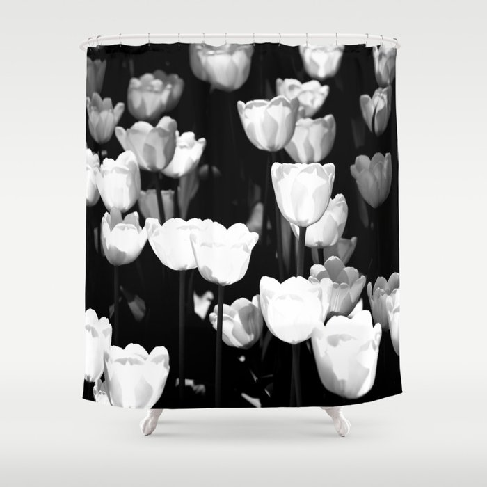Sunlit White Tulips Shower Curtain