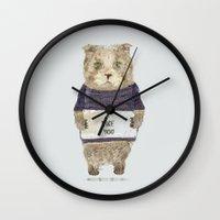 i like you Wall Clocks featuring i like you by bri.buckley
