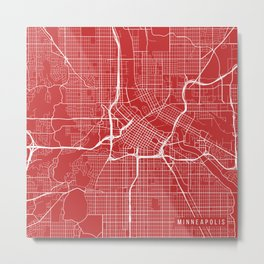 Minneapolis Map, USA - Red Metal Print
