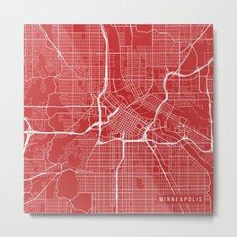 Minneapolis Map, USA - Red Metal Print