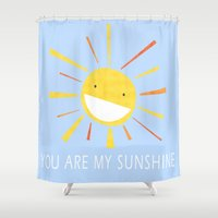 you are my sunshine Shower Curtains featuring You Are My Sunshine by Lisa Jayne Murray - Illustration