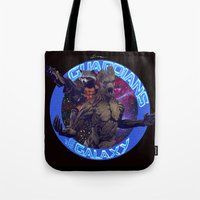 thanos Tote Bags featuring Groot and Rocket - Guardians of the Galaxy by Leamartes