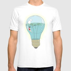 Life in a lightbulb. Day MEDIUM Mens Fitted Tee White